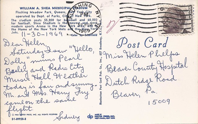1964 Shea postcard sent 1969