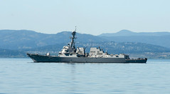 USS Spruance (DDG 111) departs Esquimalt, British Columbia, May 3, to take part in exercise Trident Fury. (U.S. Navy photo by Mass Communication Specialist Seaman Apprentice William Blees)