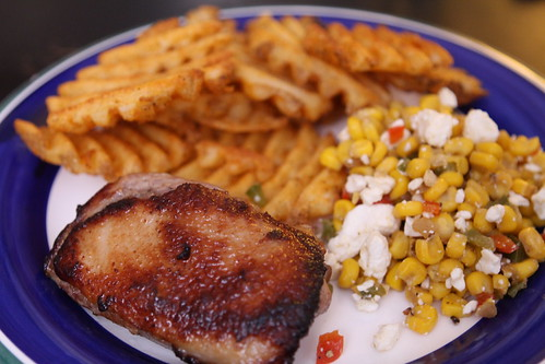 Pan Roasted Duck Breast with Waffle Fries, and Corn Salad