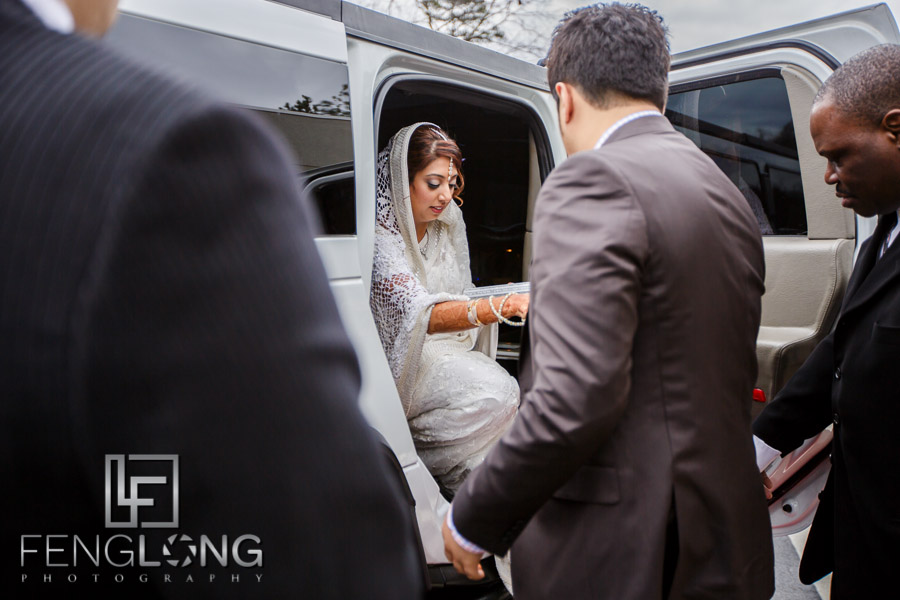 Ismaili groom picking up bride to go to Nikkah at Jamatkhana