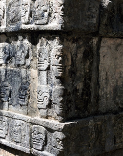 Image of Chichen Itzá near San Felipe Nuevo. unesco world heritage site iltzompantli orskullplatformplataformadeloscráneoschichenitzaskullplatformchichenitzaatthemouthofthewelloftheitzacenotesagradosacredcenotemexicoprecolumbianmayasiteatthemouthofthewelloftheitzapeoplechichenitzaatthemouth acropolis architecture ancient buildings