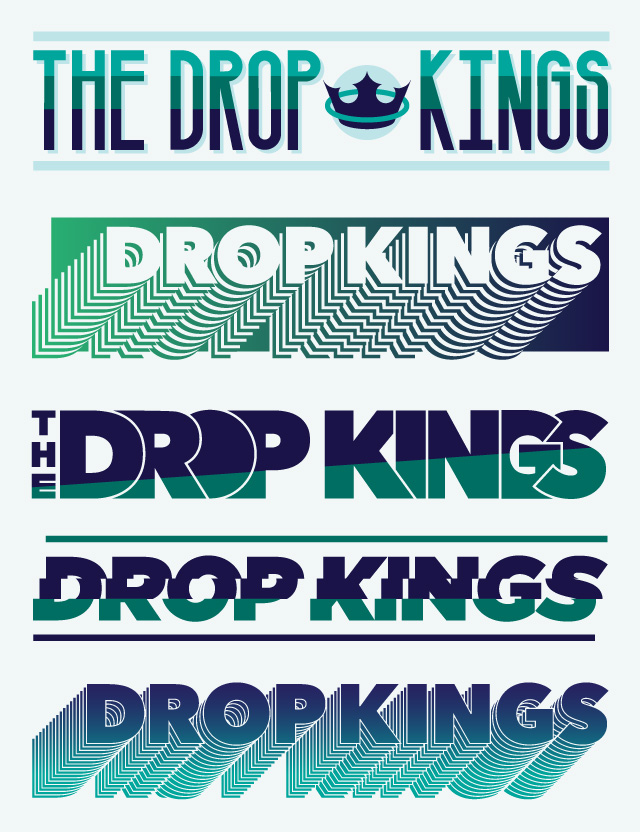 Logo Exploration : The Drop Kings.