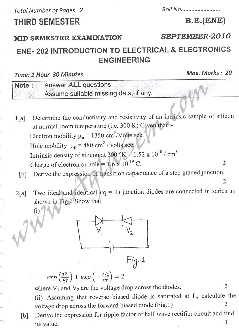 DTU Question Papers 2010 – 3 Semester - Mid Sem - ENE-202