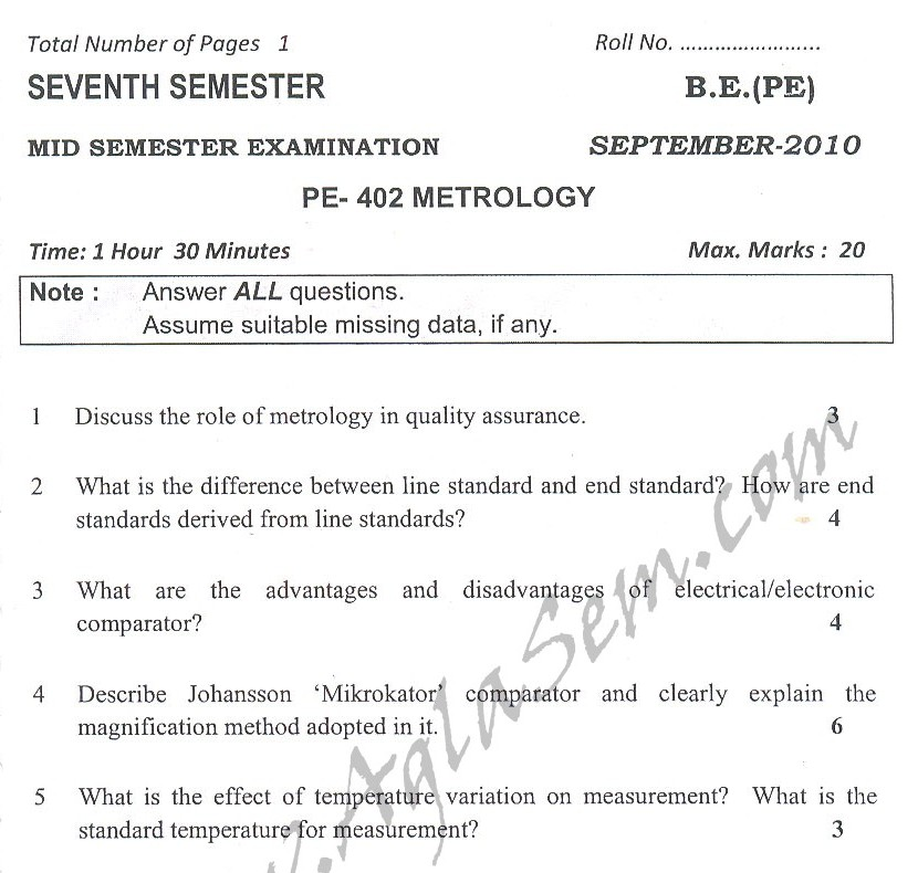 DTU Question Papers 2010 – 7 Semester - Mid Sem - PE-402