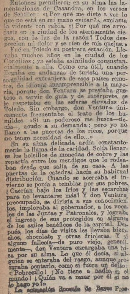 """Elegía a Ventura Reyes Prósper por Alberto de Segovia titulada """"Elegía en mala prosa"""" publicada en La Acción el 20 de diciembre de 1922 (III)"""