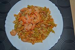 spaghetti(0.0), produce(0.0), shrimp(1.0), fusilli(1.0), seafood(1.0), food(1.0), scampi(1.0), dish(1.0), cuisine(1.0),