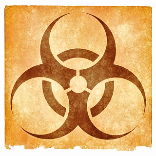 Biohazard Grunge Sign - Sepia