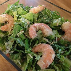 Dinner: wild harvested shrimp Cesar salad with baby shrimp.