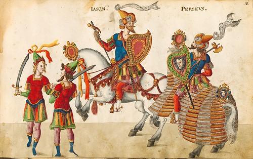 002-Cabalgata de Jason y Perseo-Descripción de las ocho festividades celebradas durante los juegos…1596-Biblioteca Estatal de Baviera
