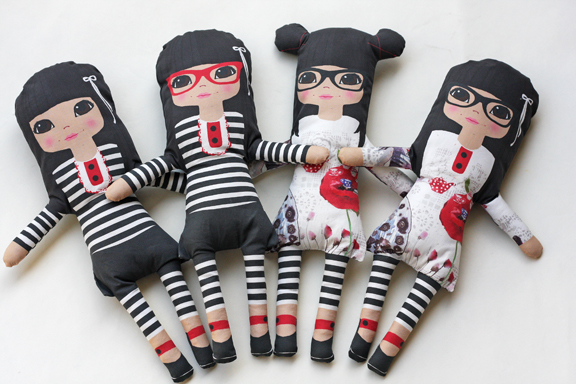 Asian girl  soft fabric dolls