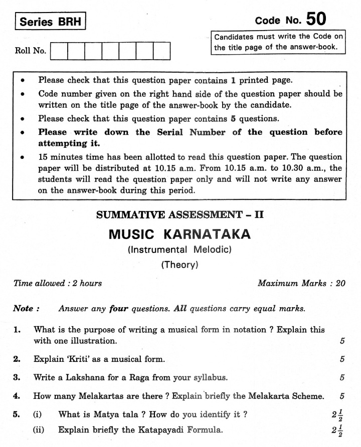 CBSE Class X Previous Year Question Papers 2012 Music Karnataka(Instrumental Melodic)