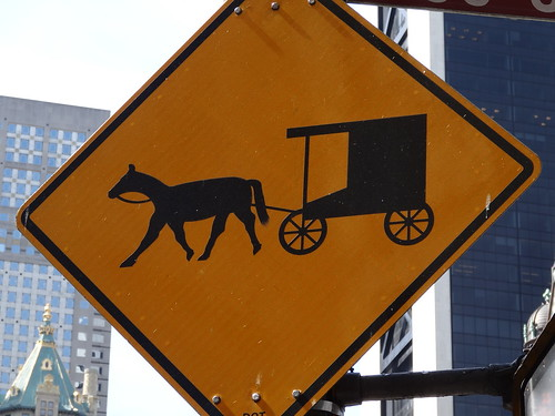 Amish buggy handsom cab sign New York
