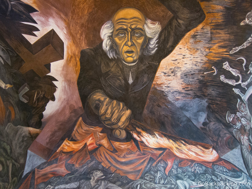 Huge ceiling mural painted by José Clemente Orozco in the Palacio de Gobierno