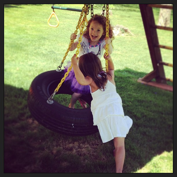 New friends and a tire swing.