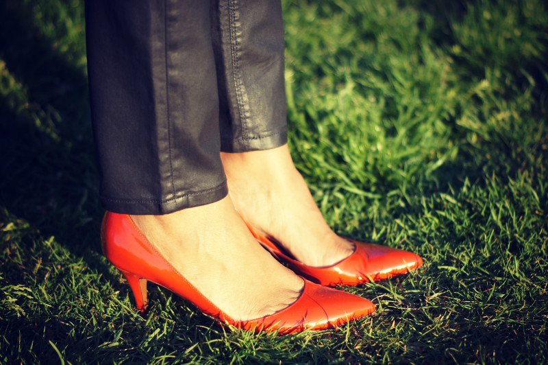 Wax Coated Jeans + Patent Leather Heels
