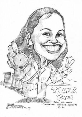 doctor caricatures in pencil for National University Health System (NUHS) - 2