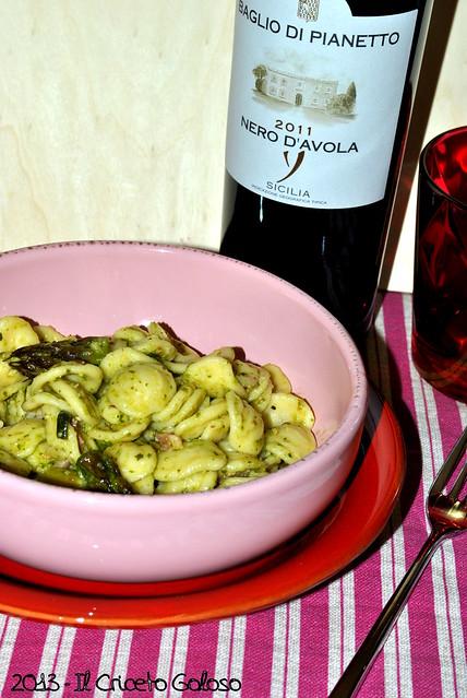 Orecchiette con asparagi, pesto e pancetta (3)