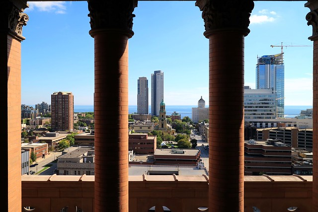 The View from Milwaukee City Hall's Tower Looking to Lake Michigan