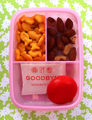 kindergarten snack - almonds, goldfish crackers, Babybell cheese