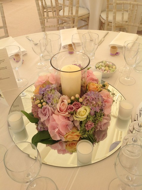 Easter wedding table arrangement flickr photo sharing for Bridal table arrangements
