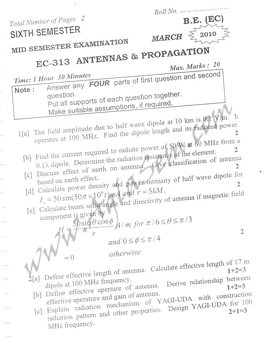 DTU Question Papers 2010 – 6 Semester - Mid Sem - EC-313