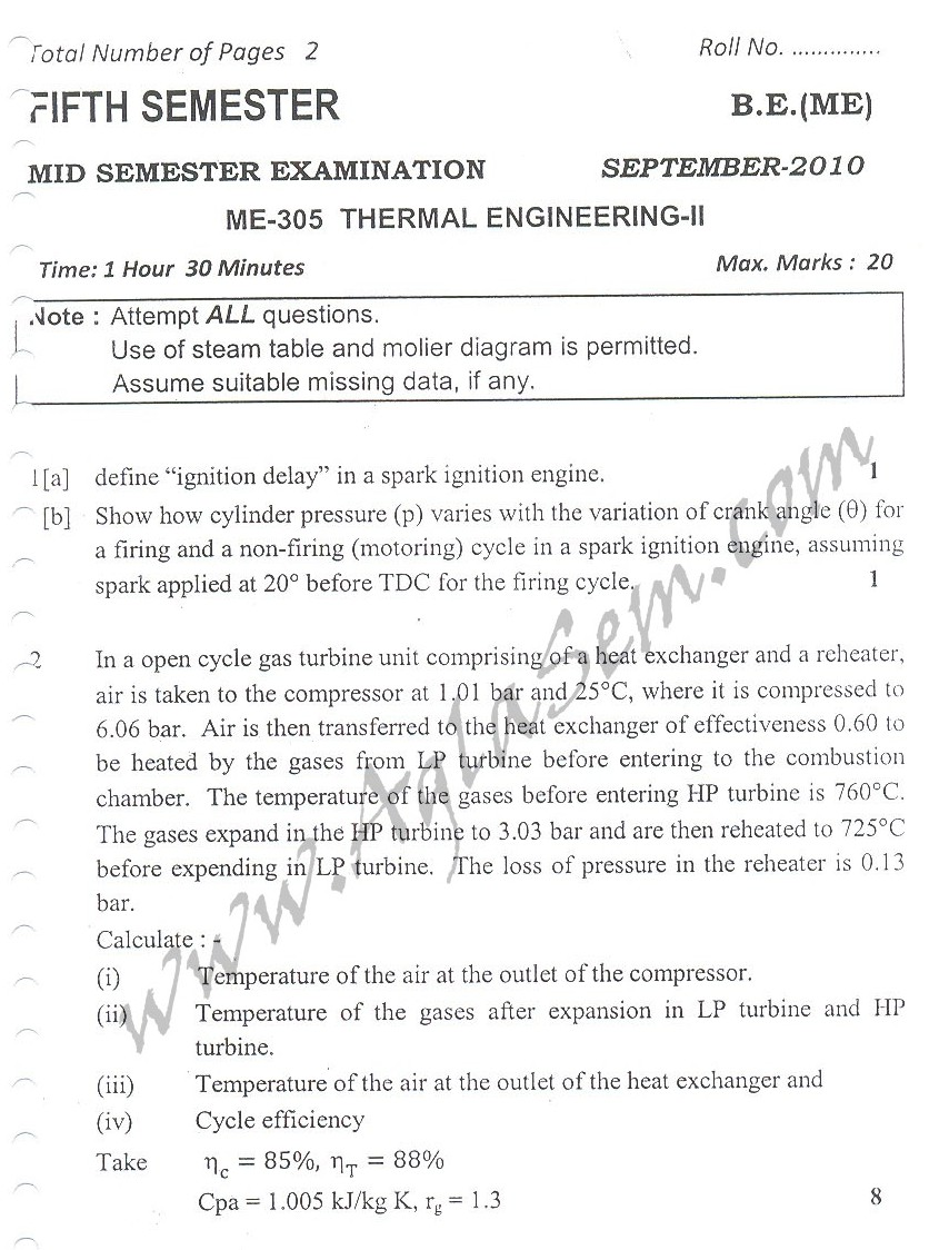 DTU Question Papers 2010 – 5 Semester - Mid Sem - ME-305
