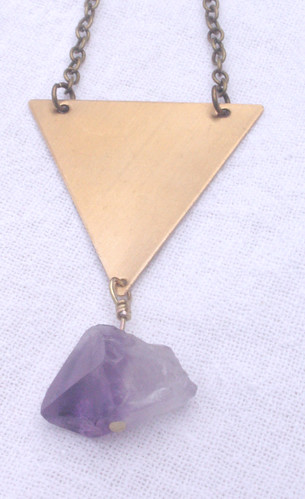 amethyst and brass triangle