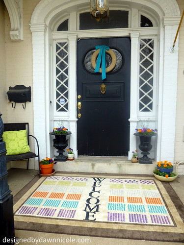 DIY Stenciled Geometric Rug with Handmade Charlotte Stencils #plaidstenciling