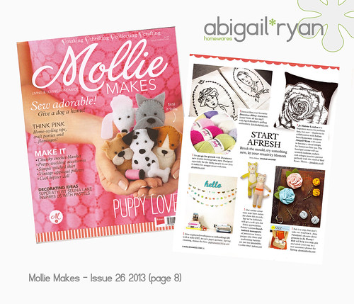 Mollie Makes Magazine issue 26 - abigail*ryan for Jo Malone featured on page 8!