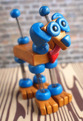 Golden Blue Mini Robot Dog wants love by HerArtSheLoves