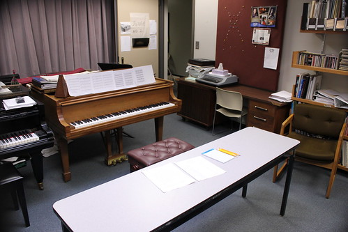 2:25 PM: My office all set up for the piano competition