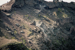 Steam between the rocks on mount vesuvius