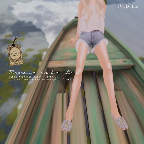 NuDoLu Mocassin en lin Gris for TGGS AD