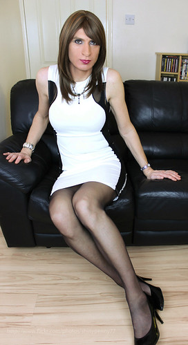 White and black side mesh dress...