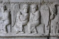 Girona. Claustre de la catedral. Història d'Abraham. Angels de l'aparició a Mambré