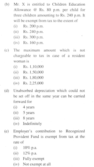 DU SOL BCom Programme Question Paper Income Tax And
