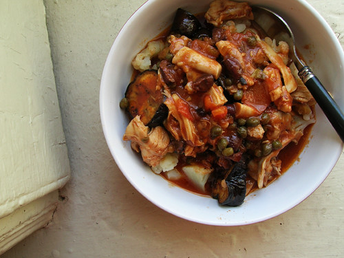 shepherd chicken stew with preserved lemon, olives, capers, and eggplant