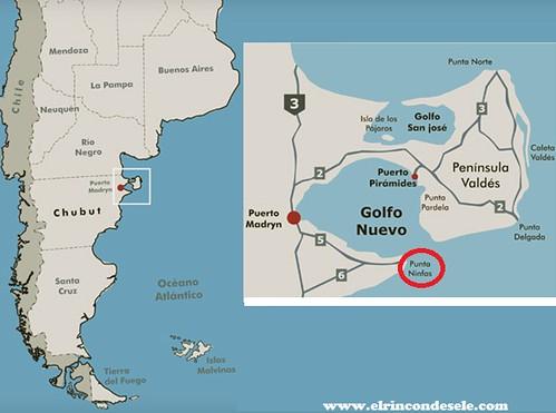 Mapa Punta Ninfas (Patagonia, Argentina)