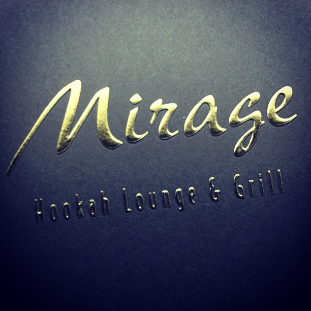 Gold Foil Embossed Business Cards For Mirage Hookah Lounge