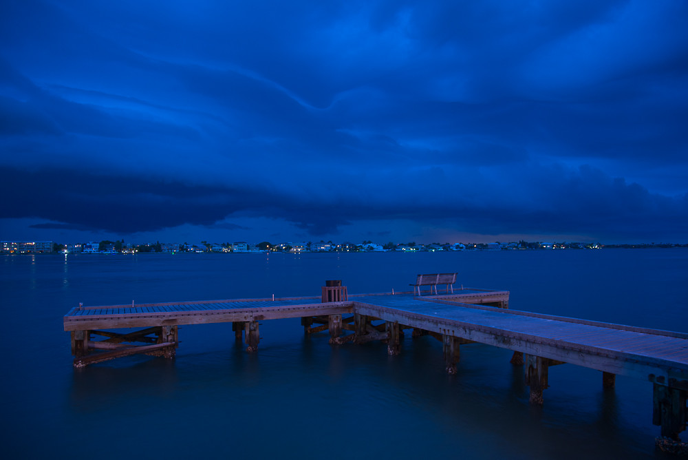 Storms rolling pass #TampaBay at night, view from Pass-A-Grille on #StPete Beach
