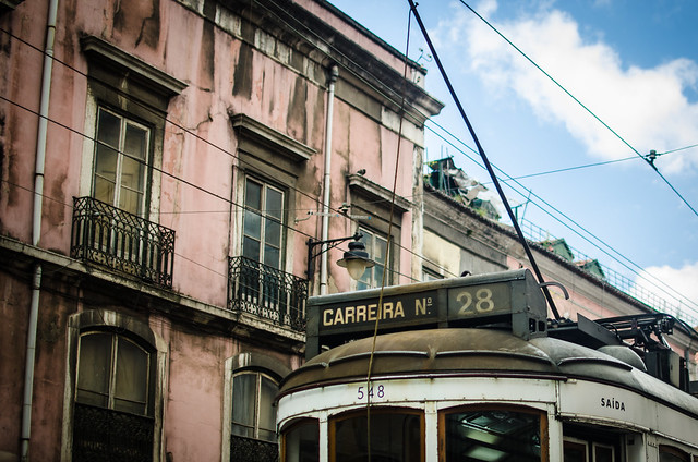 Tram 28 makes its way through the Chiado neighborhood in Lisbon, Portugal.