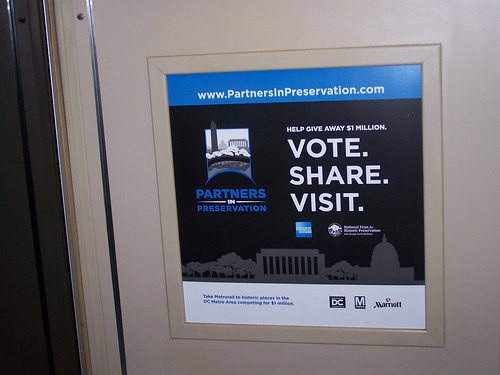 Preservation Partners promotional sign, on the WMATA subway