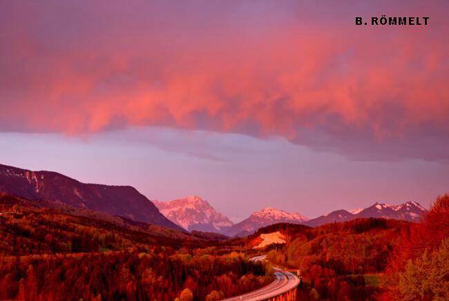 aube de feu et record de douceur nocturne à la Zugspitze lors du foehn des 28 et 29 avril 2012 météopassion