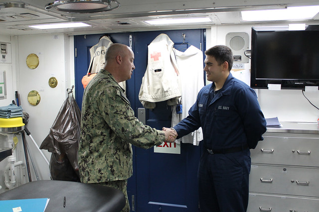 US Naval Forces Central Command Master Chief Visits USS Higgins
