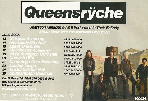 June 2008 Queensryche UK Tour