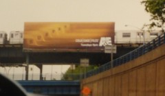 NYCT 7 Train (R62A) in Woodside crossing over Interstate 278