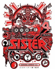 Come on down to @sisterbar it's taco Tuesday and Sister's 4th birthday.  I'm selling screen prints commemorating the affair.  Today only grab the metallic silver print Fo only $5 and the limited red variant Fo $10 #screenprint #poster#metal
