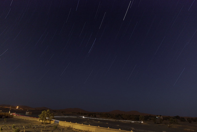 star trails in the desert night, merzouga, morocco, april 2013