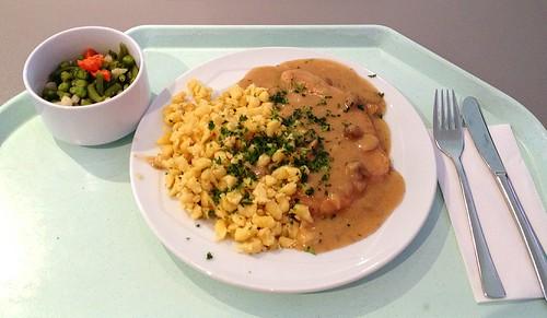 Putenschnitzel mit Schwammerlsoße & Spätzle / Turkey schnitzel with mushroom sauce & spaetzle