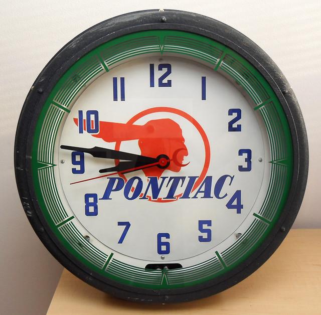 Vintage Pontiac Dealership: Neon Products Inc. Pontiac Clock